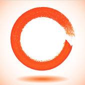 Orange paintbrush circle vector frame — Vector de stock