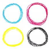 Set of CMYK circle spots of pastel crayon, isolated on white background — Stock Vector