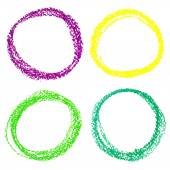 Set of Mardi Gras circle spots of pastel crayon, isolated on white background — Stock Vector