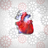 Heart anatomy on a abstract gears background — Vetorial Stock