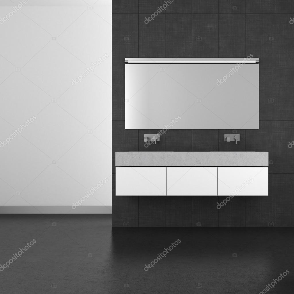 Modernt badrum med mörkgrÃ¥ kakel och mörka golv — stockfotografi ...