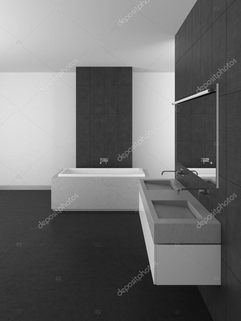 Moderno bagno con piastrelle grigie e pavimento scuro foto stock anhoog 69385293 - Piastrelle grigie bagno ...