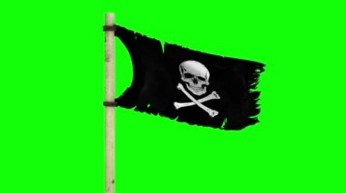Waving pirate flag Jolly Roger on green screen — Stock Video