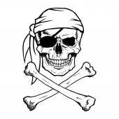 Jolly Roger pirate skull and crossbones — Stock Vector