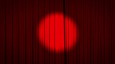 Red curtain with spotlight opening — 图库视频影像