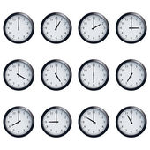 Clock set timed at each hour on white background — Stock Vector
