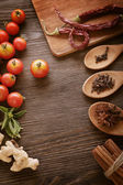 Spices and vegetables in anticipation of cooking  — Stockfoto