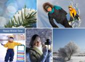 Winter happy time collage — Stock Photo