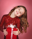 Happy  girl with christmas gift box — Stock Photo