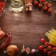 Everything on wood table for the preparation of acute Italian sa — Stock Photo #55688553