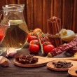 Everything on wood table for the preparation of acute Italian sa — Stock Photo #55689125