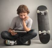 Teenager with tablet pc — Stock Photo