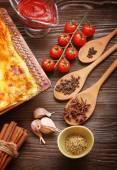 Ready lasagna and its ingradent — Stock Photo