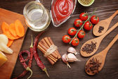Everything on wood table for cooking  — Stock Photo