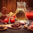Everything on wood table for the preparation of acute Italian sa — Stock Photo #56896703