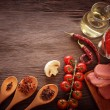 Everything on wood table for the preparation of acute Italian sa — Stock Photo #58774797