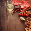 Everything on wood table for the preparation of acute Italian sa — Stock Photo #58774839