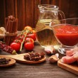 Everything on wood table for the preparation of acute Italian sa — Stock Photo #58774915