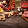 Everything on wood table for the preparation of acute Italian sa — Stock Photo #58774987