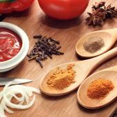 Sauce ingredient on wood table — Stock Photo