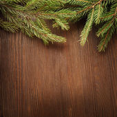 Christmas Tree  on wooden background  — Stock Photo