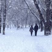 Couple in winter forest  — Stock Photo