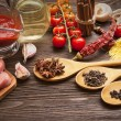 Everything on wood table for the preparation of acute Italian sa — Stock Photo #72869501