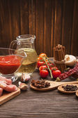 Everything on wood table for the preparation of acute Italian sa — Stock Photo