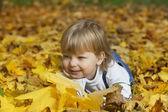 Gelukkige jongen in de bladeren van de herfst ligt — Stockfoto