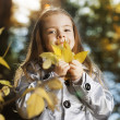 Happy girl in leaves — Foto de Stock   #78860188