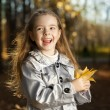 Happy girl in leaves autumn — Foto de Stock   #80410164
