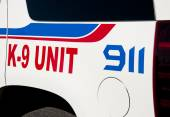 Decals on K-9 unit vehicle of law enforcement — Stock Photo