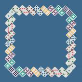 Frame square of dominos in numerical order on blue background — Stock Photo