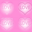Set of pink Valentine's day hearts with word love inside the hearts — Stock Photo #71278241