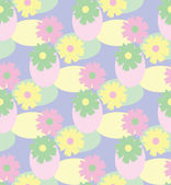Spring flowers and eggs in Easter pastel colors, a seamless background pattern — Stock Photo