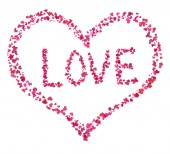 Heart made of tiny hearts, with word Love inside, also made of tiny hearts, on white — Stock Photo