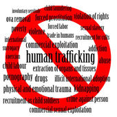 Stop human trafficking - word cloud of human trafficking related words with a stop sign — Stock Photo