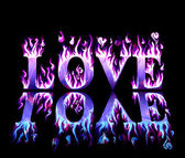 Word love in flames in blue and purple, with reflection on black background — Stock Photo