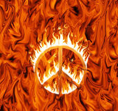 Sign of peace engulfed in flames, on infernal background — Stock Photo