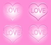 Set of pink Valentine's day hearts with word love inside the hearts — Stock Photo