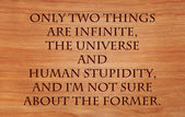 Only two things are infinite, the universe and human stupidity, and I'm not sure about the former - quote  on wooden red oak background — Stock Photo