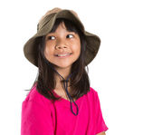 Young Asian Preteen Girl Wearing Angler Hat And Pink Tshirt — Stock Photo