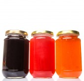 Blueberry, Strawberry And Orange Fruit Bottled Jam — Stockfoto