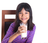 Young Asian Preteen Girl With A Glass Of Milk — Stock Photo