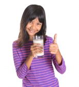 Young Asian Girl With Milk — Stock Photo