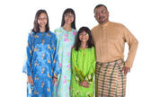 Middle Age Asian Malay Father And Daughters — Стоковое фото