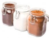 Coffee, Chocolate Powder And Sugar — ストック写真