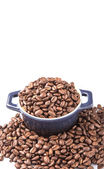 Roasted Coffee Beans In Blue Ceramic Pot — Stock Photo