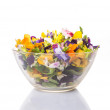 Mix Edible Flower Salad In Glass Bowl — Stock Photo #71279481