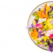 Mix Edible Flower Salad In Glass Bowl — Stock Photo #71279535